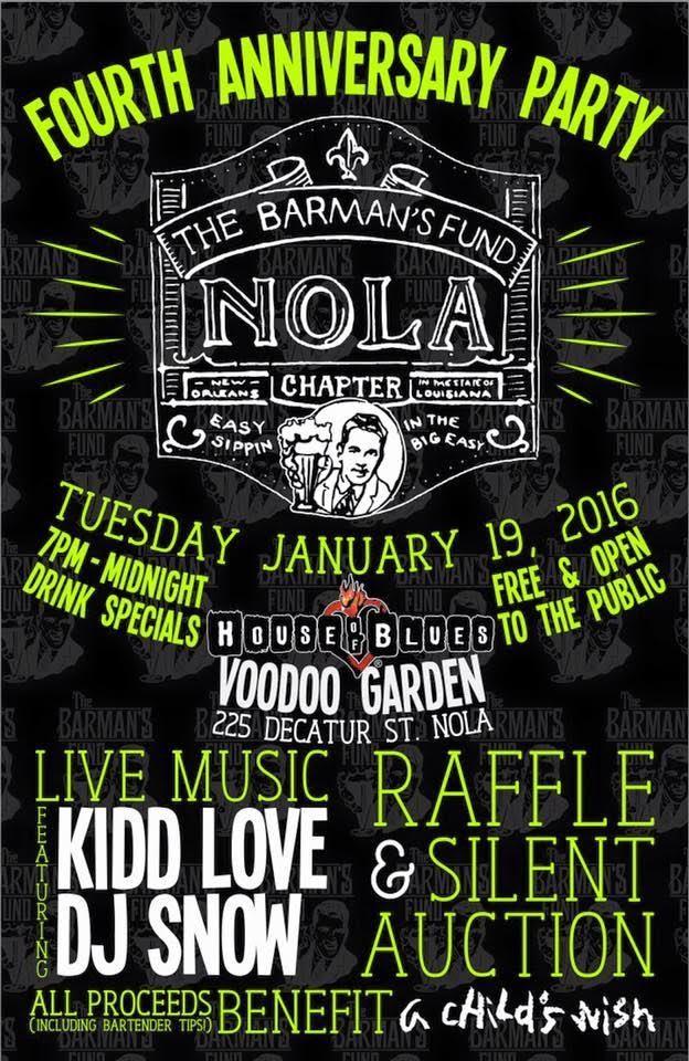 Barman's Fund NOLA anniversary party flyer